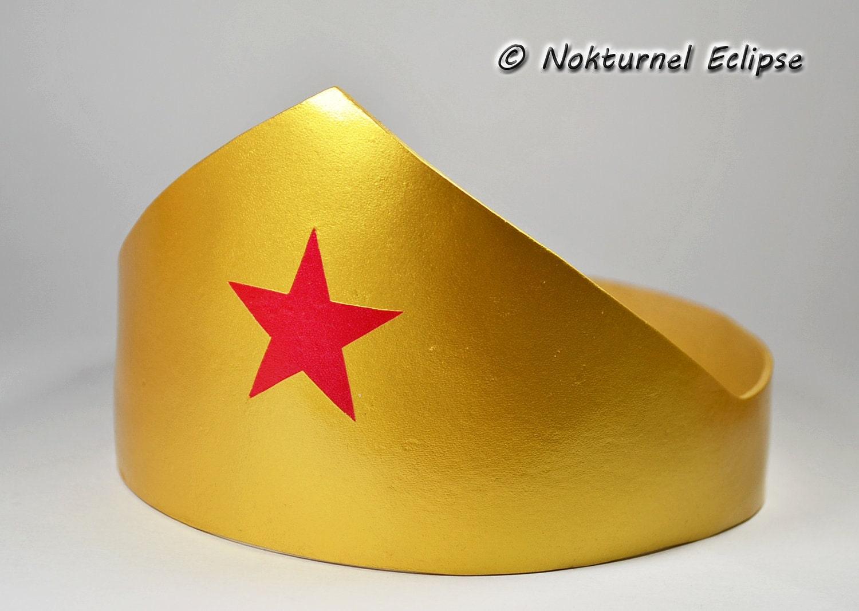 Wonder Crown Template | Wonder Woman Gold Adult Tiara Headpiece With Red Star Justice