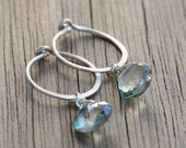 Silver Hoop and Mystic Quartz Earrings