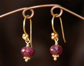 Ruby and Gold Earrings