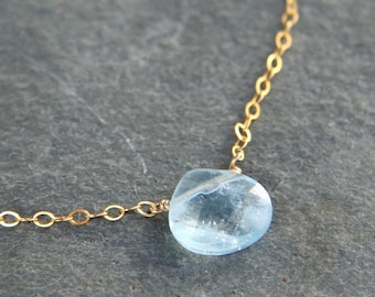 Aquamarine and Gold Simplicity Necklace