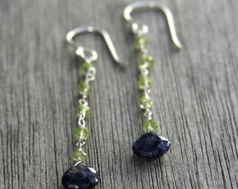Peridot and Blue Labradorite Dangle Earrings