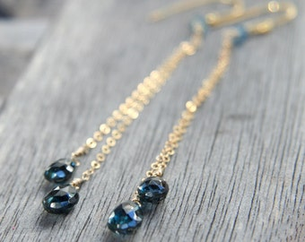 Super Long London Blue Topaz Drop and Gold  Earrings