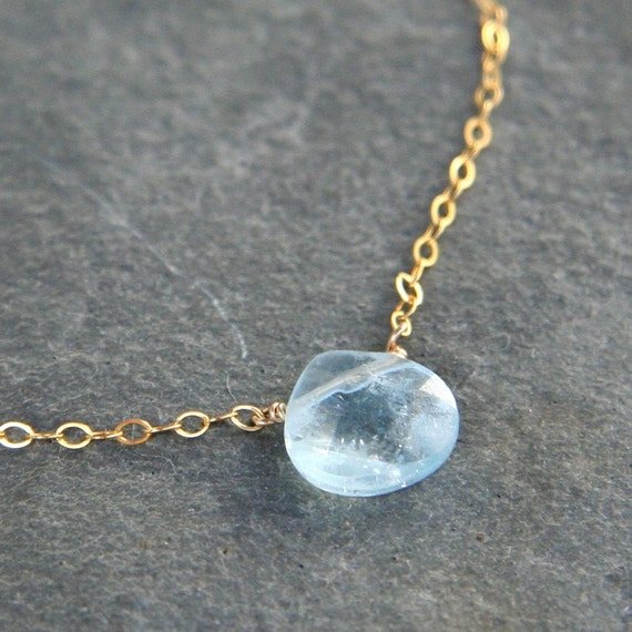 Aquamarine and Gold Simplicity Necklace