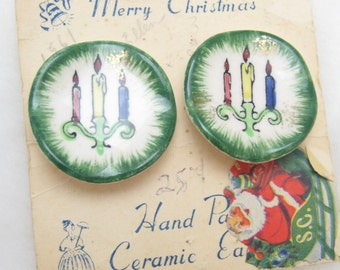Vintage Christmas Earrings Unique Ceramic Christmas Plate Candles NOS E1257