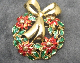 Danecraft Poinsettia Wreath Pin Medium Sized P2389