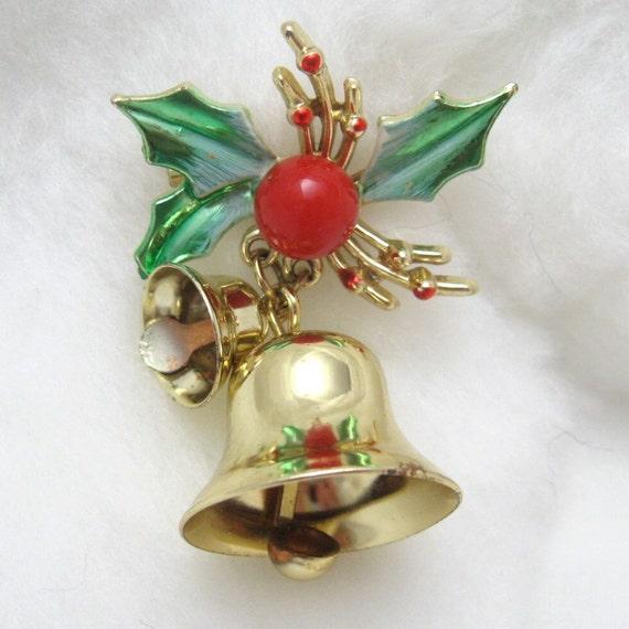 Vintage Christmas Brooch Jingle Bells and Holly Pin P1300