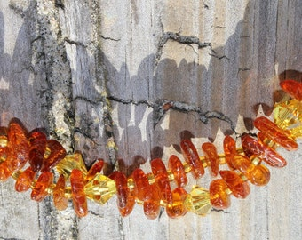 Amber & Swarovski Crystals Double Stranded Necklace