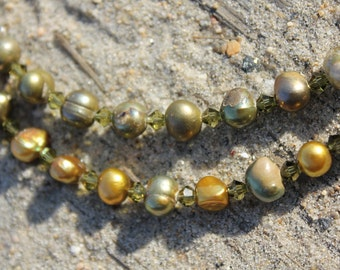 Olive Green Pearl Necklace with Crystals