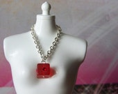 necklace for Blythe doll silver chain with red acrylic cube with Swarovski crystal B149