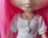 necklace for Blythe doll silver with pink enamel heart shaped drop pendant B137