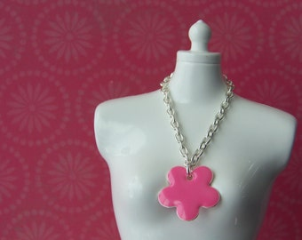 necklace for Blythe doll silver chain with large pink enamel flower charm B160
