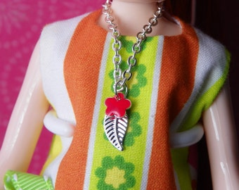necklace for Blythe doll silver chain with petite red flower and leaf charm B161