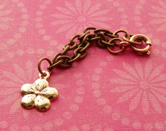 necklace for Blythe - antiqued copper chain with cherry blossom pendant B179