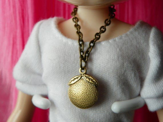 necklace for Blythe - antiqued brass chain with orange pendant B181