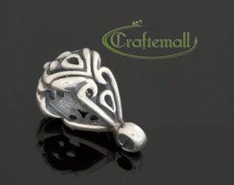 Clearance: 1 Sterling Silver Oxidized Thai or Bali Style Ornate Bail - SSBL01