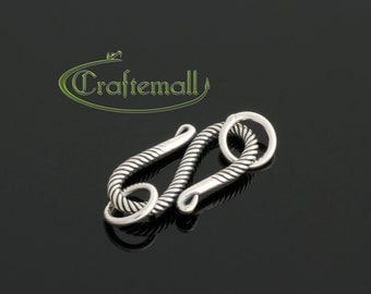 1 Sterling Silver Clasp - 21mm S Clasp with Twisted Rope Bali Ornament - bclw011