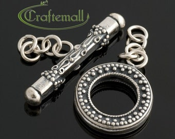 Clearance: 1 Sterling Silver Toggle Clasp 18mm Round with Bali Ornament - bto007