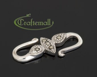 1 Sterling Silver Oxidized S Clasp with Marcasites - 20mm - bmcl002