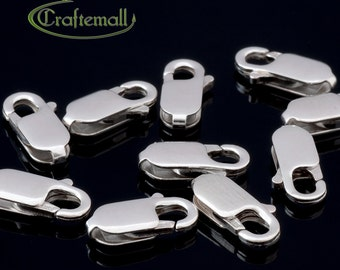 10 Sterling Silver Lobster Clasps - 8mm Oval - CHR8