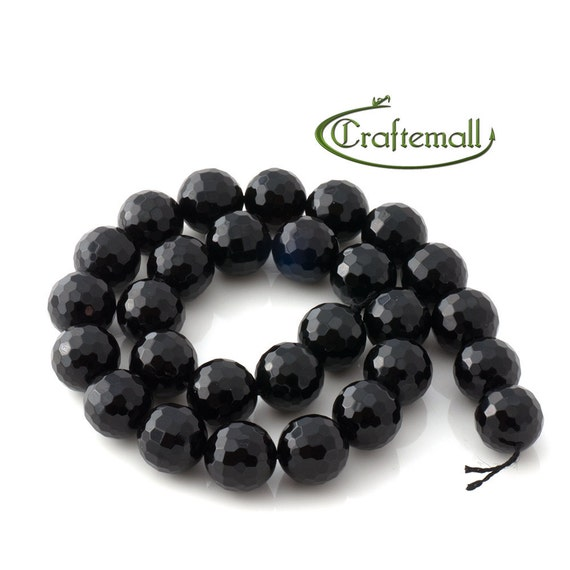 """Black Onyx 10mm faceted round - 15"""" strand"""