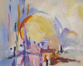 Sun in Pastels 8x16 original abstract painting from the Sun Series