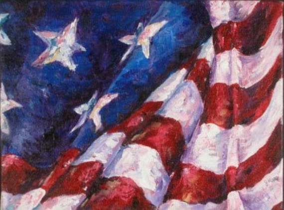 Spirit of America original gallery wrap painting 9x12 gallery wrap