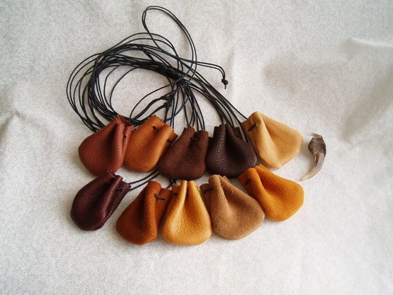 10 Small Leather Medicine Amulet Wicca Bag Wholesale