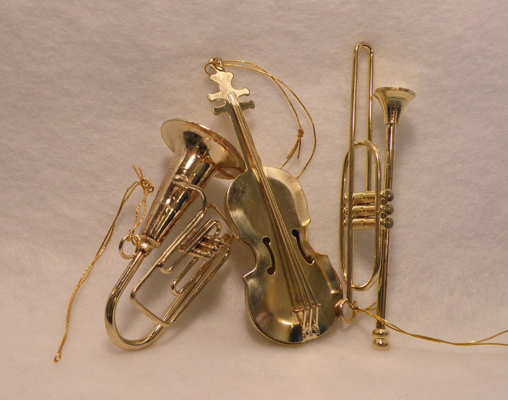 Musical instruments ornaments -  Brass Musical Instrument Ornament Set Zoom