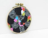 4 inch Wing embroidery hoop wall art soft grey multicolor squares black