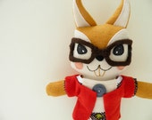 Jacques the retro squirrel plush with brown woolen glasses