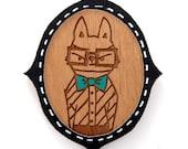 elegant raccoon wooden brooch with black frame