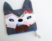6inch Raccoon zipped pouch woodland accessories