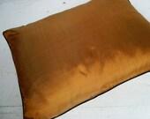 Stunning ochre silk pillow cover with a black silk trim 12 x 16
