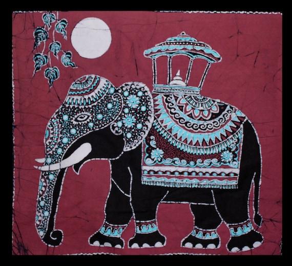 Batik Wall Hanging Elephant Tapestry Batik Art Hand Made