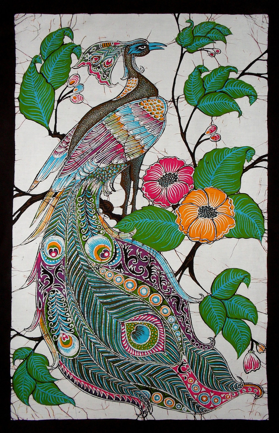 Hand Made Batik Wall Hanging Peacock On Tree Of Flowers 23