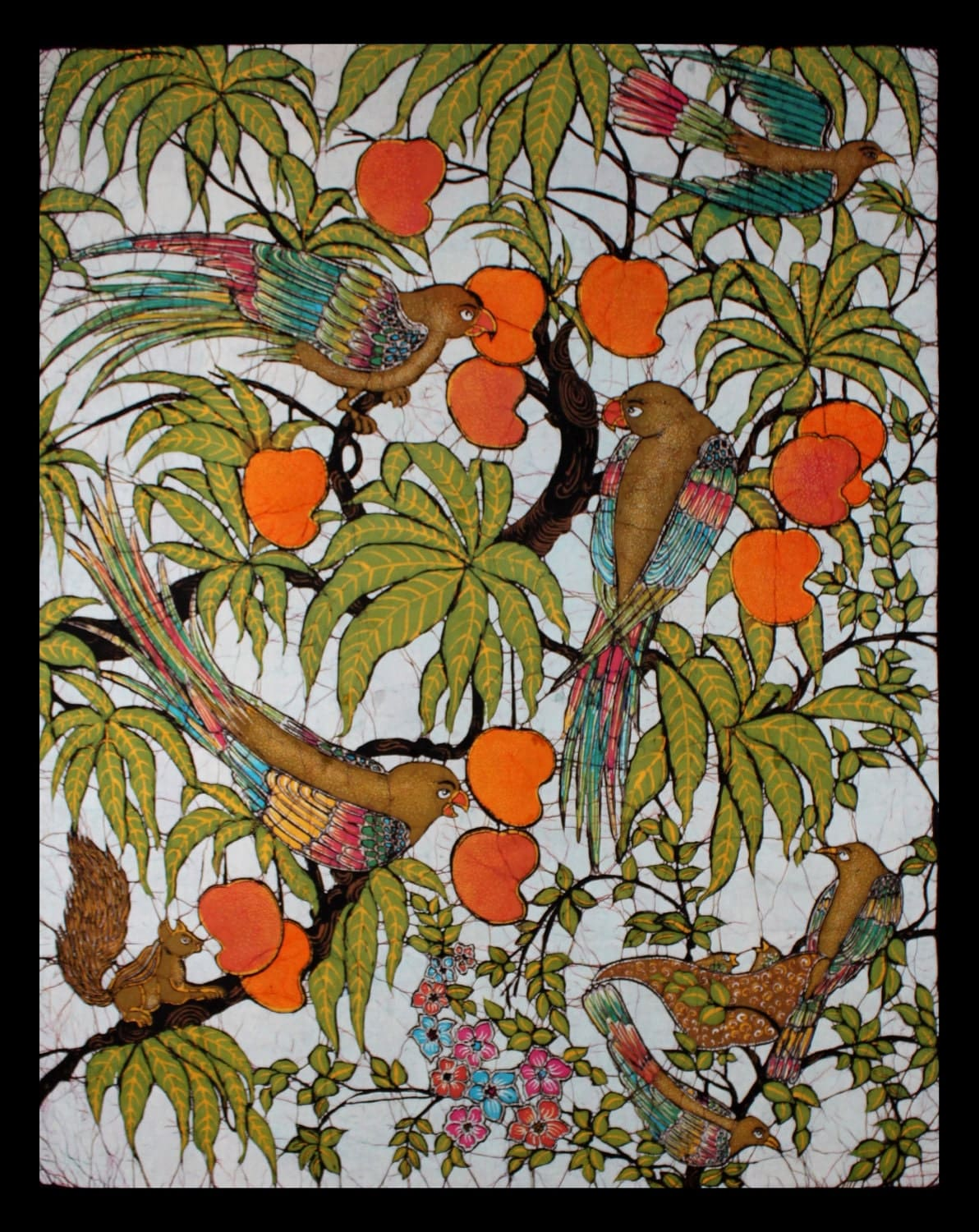 Batik Tapestry Wall Hanging Featuring Birds In Mango Tree