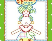 PDF embroidery pattern Gaelle, a Haitian Doll in traditional costume, by Allsorts