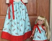 Matching Moda Sock Monkey Pillowcase Dress for Child and 18 inch doll (sizes 6mo-8yrs)