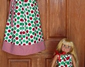 Matching Holiday/Christmas Pillowcase Dresses for Child and Doll: Holiday Dots (Sz 6 mo - 8)