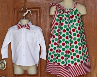 Matching Siblings: Bowtie and Pillowcase Dress in Holiday Dots