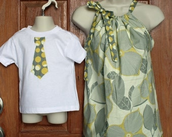 """Matching Mother Top (L, XL or XXL) and Son Tie Applique Shirt (6 mo -7) in Amy Butler Midwest Modern """"Linen/Mustard"""""""