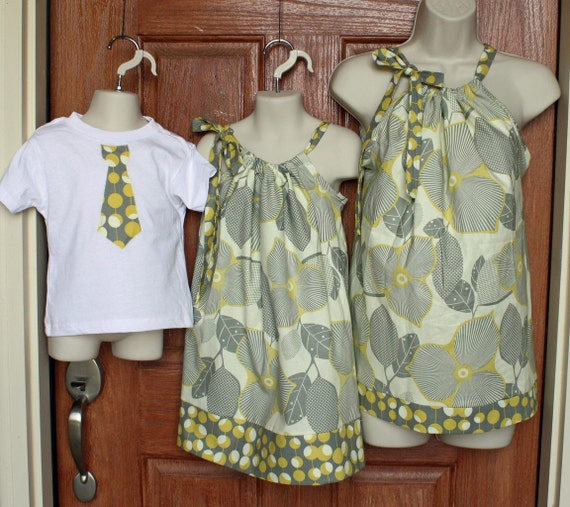 """Matching Family Ensemble: Mother Top (L or XL), Girl Dress and Boy Tie Shirt in Amy Butler Midwest """"Linen/Mustard"""""""