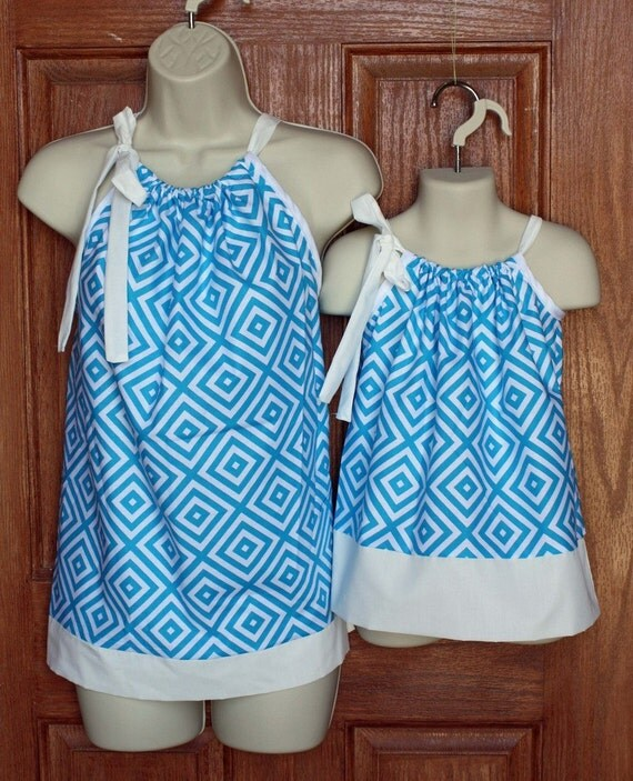 ONLY ONE LEFT: Matching Mother Top (xs,s, m) and Child Dress in Turquoise Jennifer Paganelli