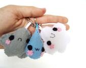 Happy Weather Set - Three Keychains in One , Cute , Kawaii Stocking Stuffer