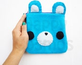 Blue Bear Pouch - Kawaii Animal Pencil Case, Coin Purse, Pencil Pouch, 3DS Case, Phone Case, Make Up Pouch