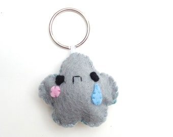 Sad Cloud Keychain - Party Favors, Phoen Charm, Kawaii Keychain, Stocking Stuffer, Key Ring, Cell Phone Charm, Dust Plug