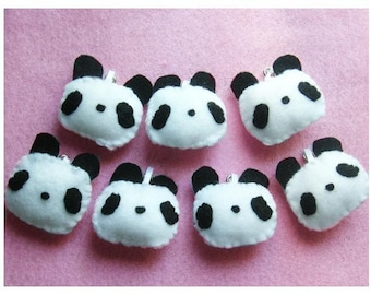 Panda Keychain - Phone Charm, Animal Keychain, Kawaii Keychain, Felt Animal, Key Ring, Cell Phone Charm, Dust Plug, Stocking Stuffer