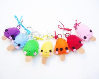 Popsicle Keychain or Phone Charm - Ice Cream Keychain, Kawaii Keychain, Felt Food, Key Ring, Party Favors, Stocking Stuffer