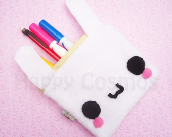 Bunny Zipper Pouch - Pencil Pouch, Pencil Case, School Supplies, Make Up Bag, 3DS Case, Phone Case, Coin Purse