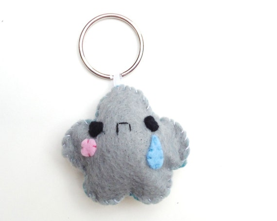 Sad Cloud Keychain - Your Choice Color, Animal Keychain, Kawaii Keychain, Felt Animal, Key Ring, Cell Phone Charm, Dust Plug